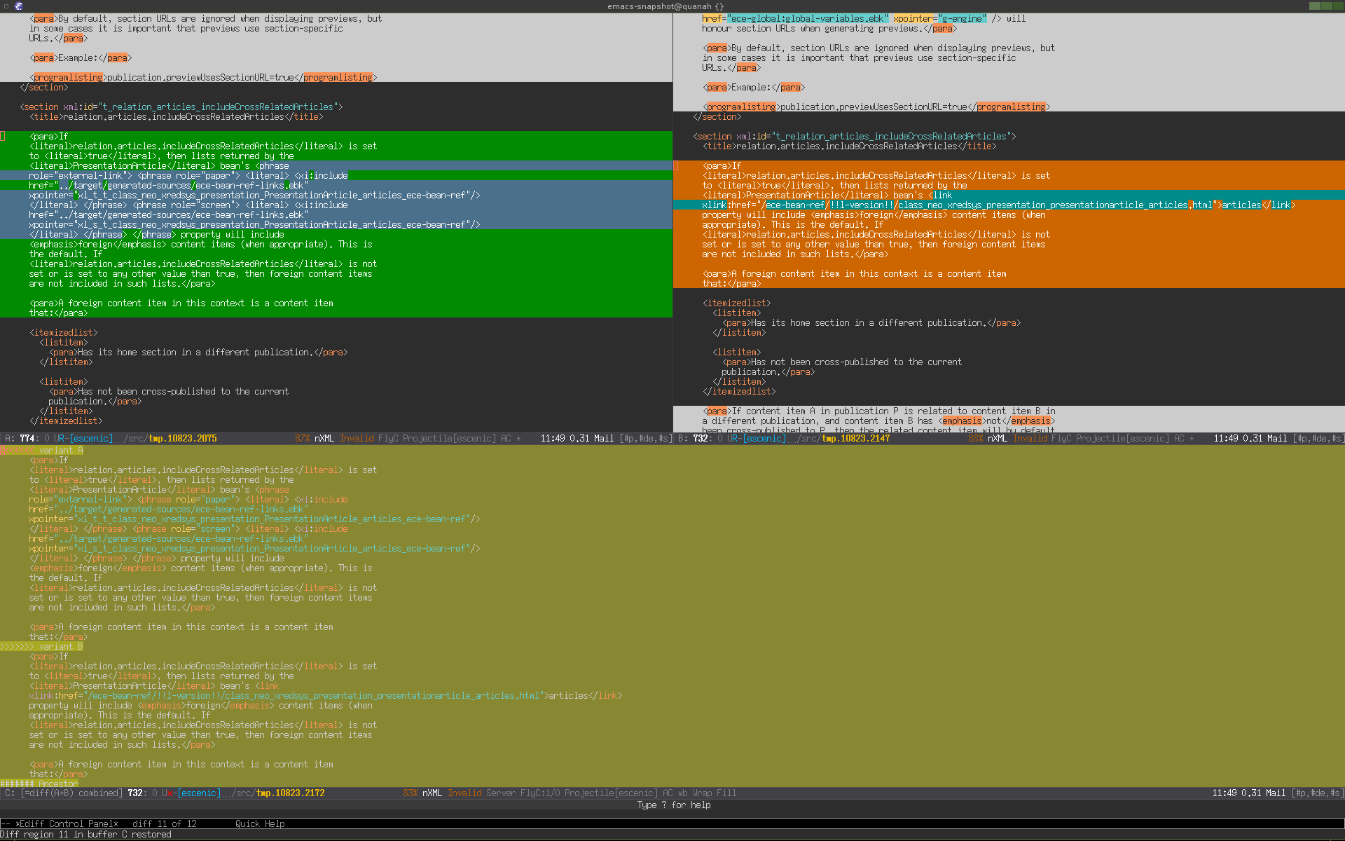 Diffing and merging in Emacs | skybert net