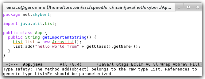 eclim java warning